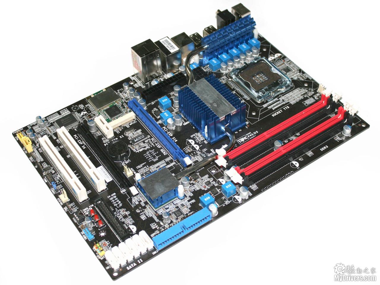 处理器供电部分,主板采用成熟的5相供电设计,另外与d3版最大的不同点