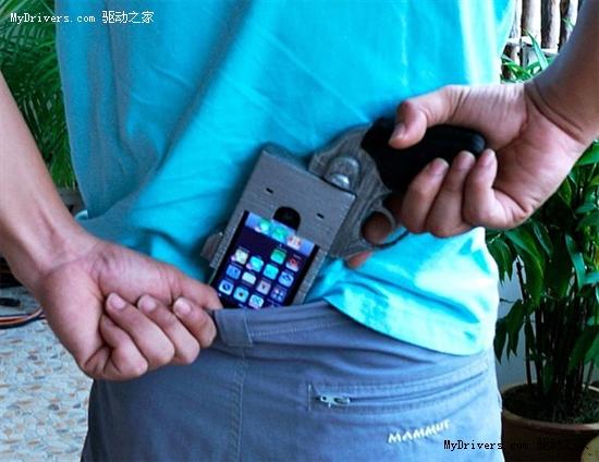 欢乐版iPhone手枪支架 接电话要