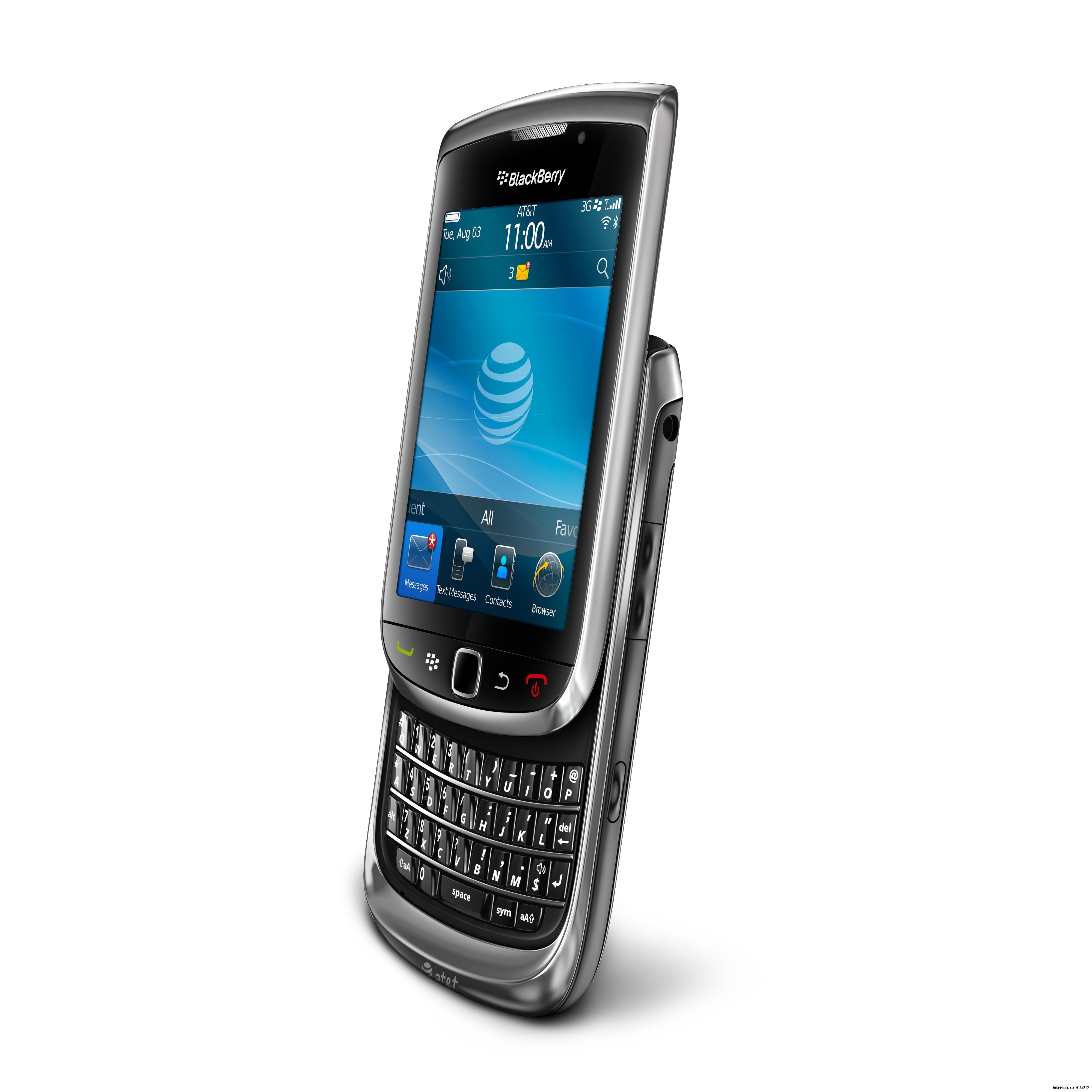 触屏滑盖blackberry 6系统 黑莓torch 9800发布