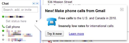 Google测试Gmail内置网页VoIP电话