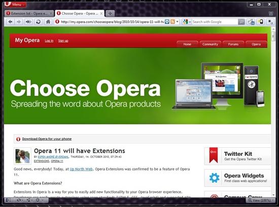 也做版本帝?Opera 11首个Alpha发布