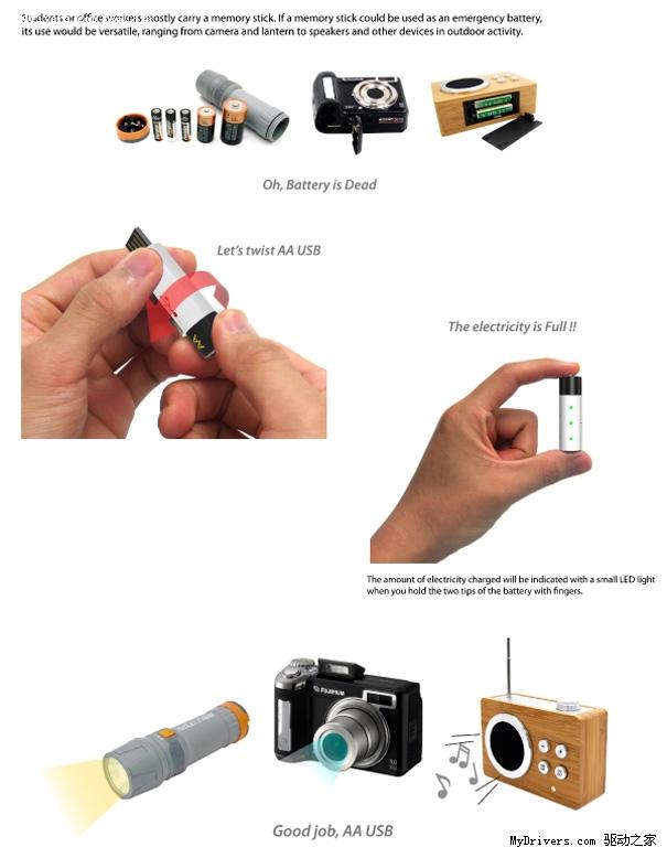 创意概念设计:u盘,充电电池二合一