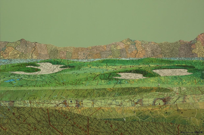 从废物到艺术:纸地图做的拼贴画