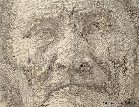 纸地图做的拼贴画; 从废物到艺术:纸地图做的拼贴画; 卡纸拼贴画