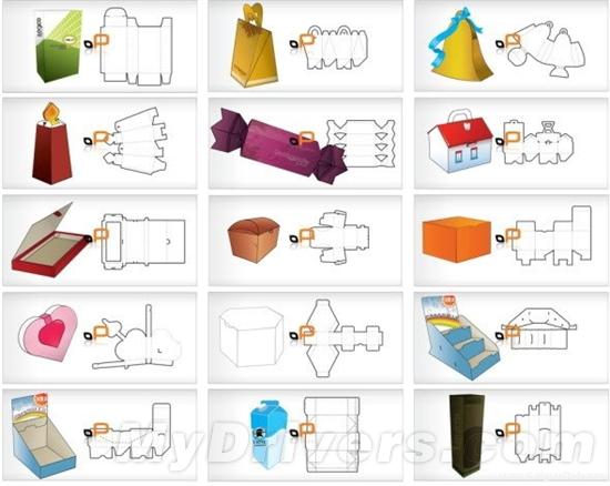 25款不同的包装盒模板(附EPS档)