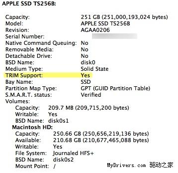 Mac OS X 10.6.8内置固态硬盘TRIM支持