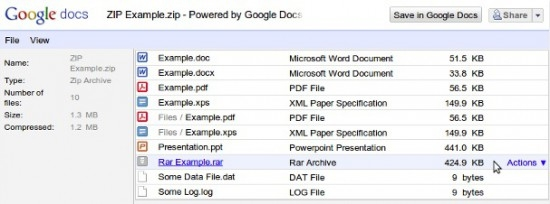 Google Docs 可直接打开ZIP/RAR压缩包