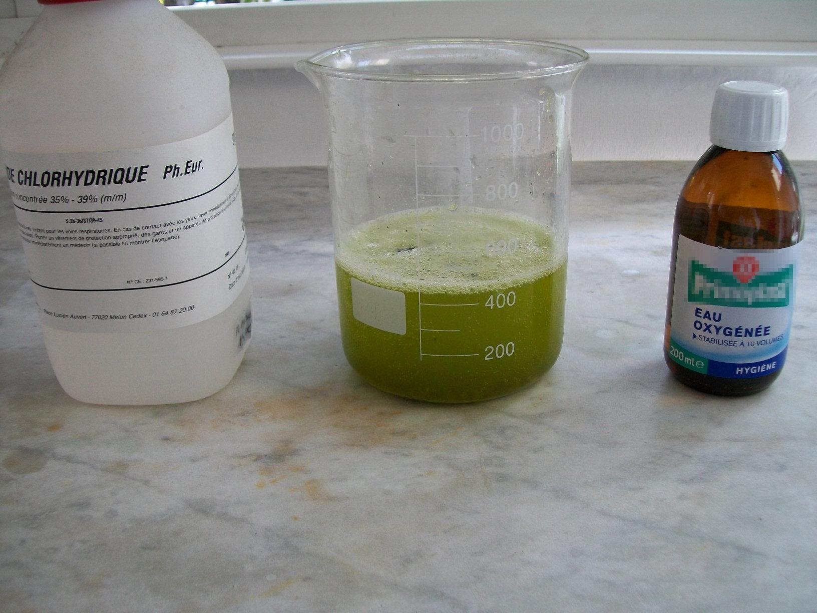 配制成分实际上乱七八糟的混合物(颜色主要是少量氯,次氯酸,亚氯酸等图片