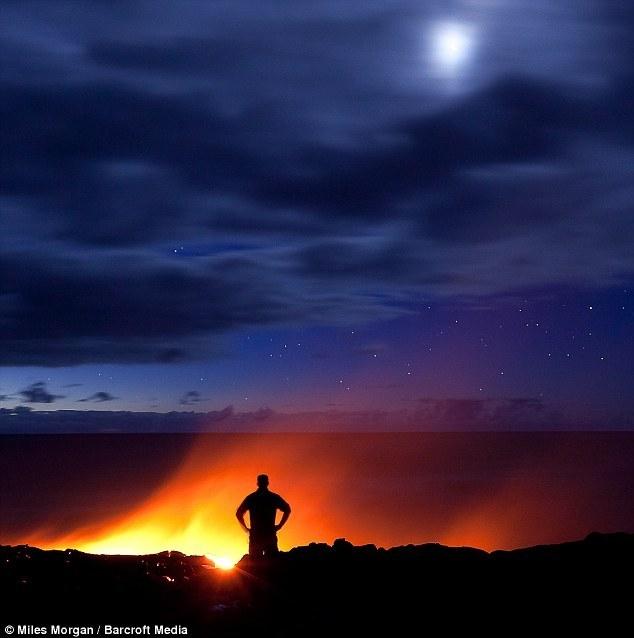 摩根在夏威夷大岛追踪从基拉韦厄火山流出的这些熔岩流时,必须时刻
