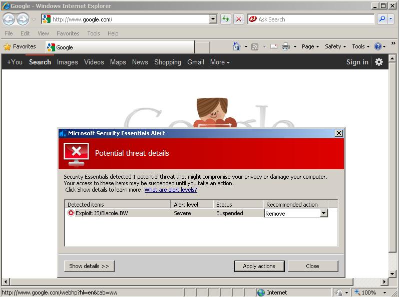 无心还是有意?微软mse误将google.com标记为恶意网站