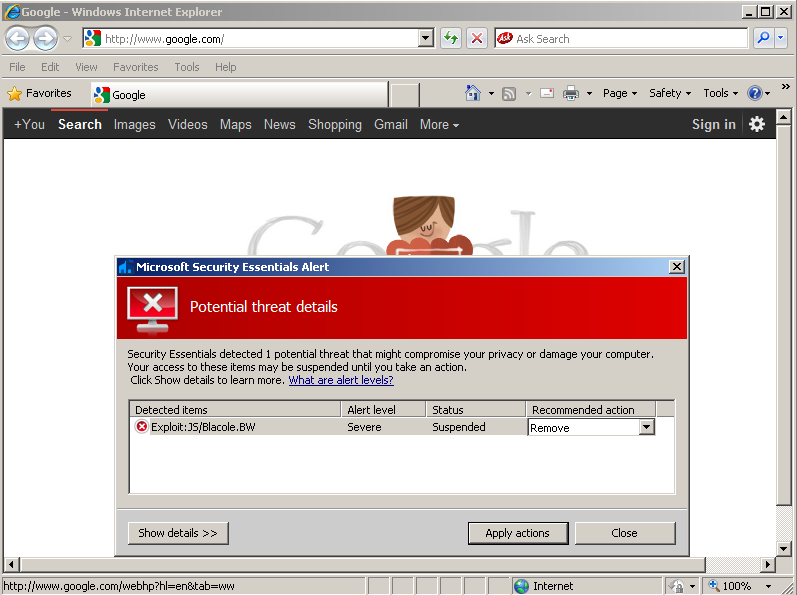 google.com_无心还是有意?微软mse误将google.com标记为恶意网站