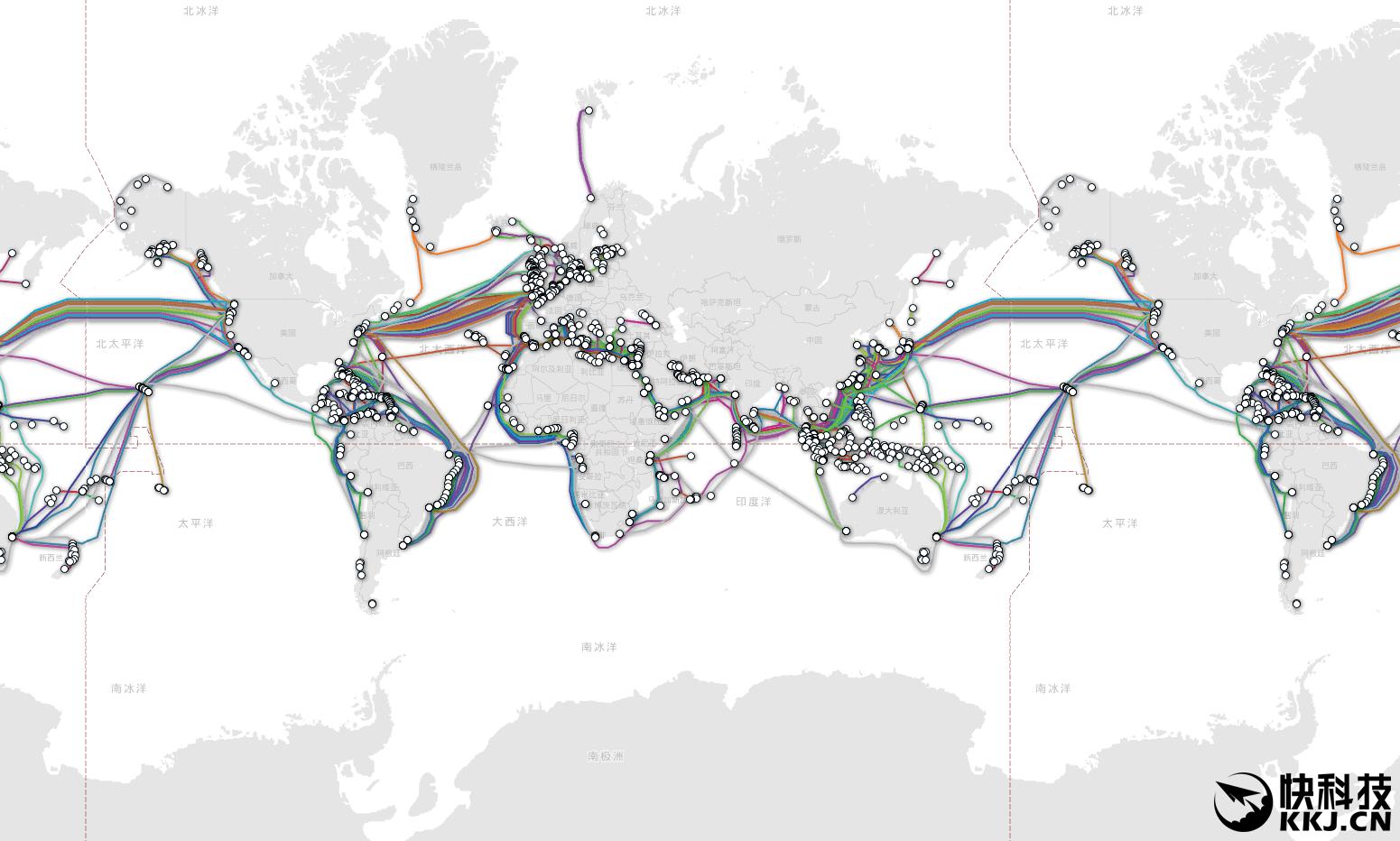 全球海底光缆示意图