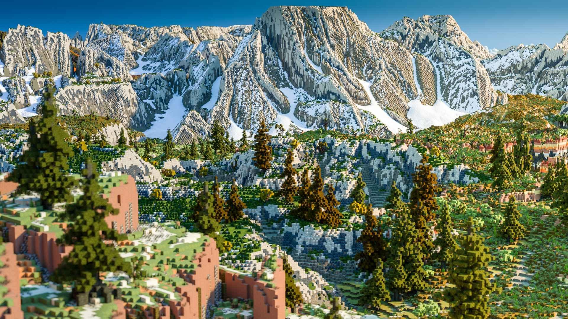 玩家自制《我的世界》超大地图 5k分辨率马赛克太美了