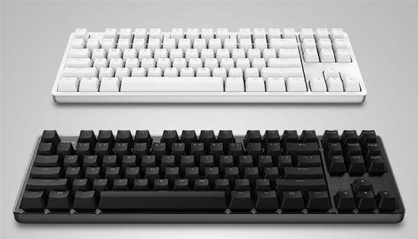 外观方面,悦米机械键盘cherry版是一款87键美式布局键盘,上盖为塑料图片