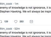 霍金去世苹果CEO库克发文缅怀:画面尴尬
